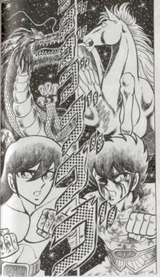 Extrait de Les chevaliers du zodiaque - Kana -2- Tome 2 - Un combat à mort ! Chevalier Pégase contre chevalier du Dragon !