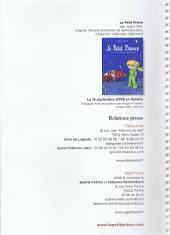 Verso de Le petit Prince (Sfar) -DP- Dossier de presse