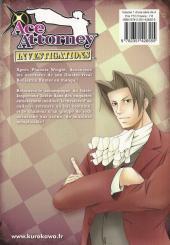Verso de Ace Attorney Investigations -1- Tome 1