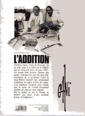 Verso de L'addition - Quatre ans de socialisme dessinés par Calvi et mis en scène par Jean-Pierre Auclert