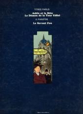 Verso de Adèle Blanc-Sec (Les Aventures Extraordinaires d') -1- Adèle et la Bête