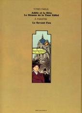 Verso de Adèle Blanc-Sec (Les Aventures Extraordinaires d') -2- Le démon de la tour Eiffel