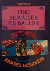 Édition adaptée pour la jeunesse, illustrée en bandes dessinées - Cinq semaines en ballon