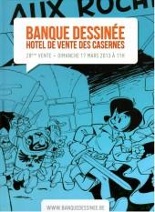 (Catalogues) Ventes aux enchères - Divers - Banque Dessinée - 28ème vente - dimanche 17 Mars 2013 - Bruxelles hôtel de ventes des Casernes