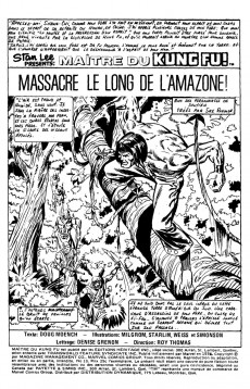 Extrait de Les mains de Shang-Chi, maître du Kung-Fu (Éditions Héritage) -10- Massacre le long de l'Amazone