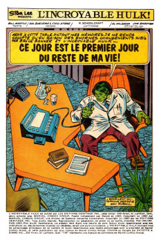 Extrait de L'incroyable Hulk (Éditions Héritage) -144145- Ce jour est le premier jour du reste de ma vie!