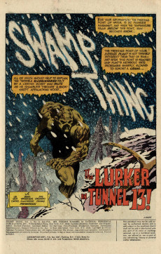 Extrait de Swamp Thing Vol.1 (DC comics - 1972) -8- The Lurker in Tunnel 13!