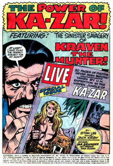 Extrait de Astonishing tales Vol.1 (Marvel - 1970) -1- In the Clutches of Kraven the Hunter! / In the Shadow of--Doom's Day!