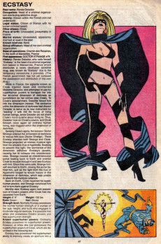 Extrait de Official Handbook of the Marvel Universe Vol.3 - Update'89 (1989) -2- Champion Of The Universe To Ecstasy