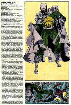 Extrait de Official Handbook of the Marvel Universe Vol.3 - Update'89 (1989) -6- Prowler To Serpent Society
