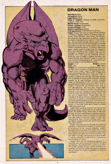 Extrait de Official handbook of the Marvel Universe Vol.1 (1983) -4- D-G: From Dragon Man to Gypsy Moth