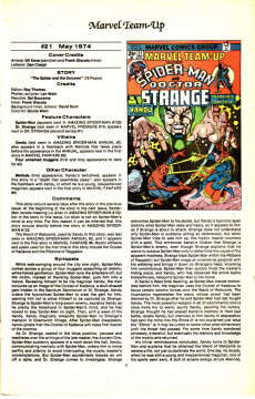 Extrait de The official Marvel index to Marvel Team-Up (1986) -2- Issue # 2