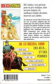 Verso de Confessions érotiques BD (Média 1000) -81- Flo : Sans argent sur la Côte d'Azur, j'ai vendu mon corps pour me payer des vacances de rêve...