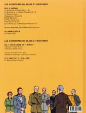 Verso de Blake et Mortimer (Les Aventures de) -13b2002- L'affaire Francis Blake