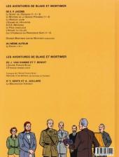 Verso de Blake et Mortimer (Les Aventures de) -13b2001- L'affaire Francis Blake