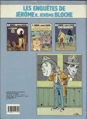 Verso de Jérôme K. Jérôme Bloche -2a1986- Les êtres de papier