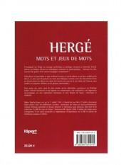 Verso de (AUT) Hergé -14- Hergé - mots et jeux de mots : abécédaire