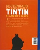 Verso de Tintin - Divers -a- Dictionnaire des noms propres Tintin de Abdallah à Zorrino