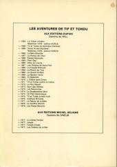 Verso de Tif et Tondu -3TL- Oscar et ses mystères