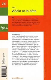 Verso de Adèle Blanc-Sec (Les Aventures Extraordinaires d') -1Librio a- Adèle et la bête