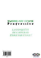 Verso de Sword Art Online - Progressive -1- Tome 1