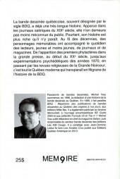 Verso de BDQ -2- Histoire de la bande dessinée au Québec - Tome 1 : des origines à 1979