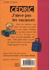 Verso de Cédric (Bibliothèque rose) -61426- J'aime pas les vacances