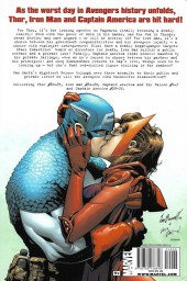 Verso de Avengers Disassembled (2009) -INT- Iron Man, Thor & Captain America