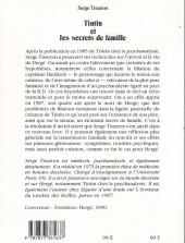 Verso de (AUT) Hergé -77- Tintin et les secrets de famille