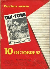 Verso de Tex-Tone -10- Le complot du hold up
