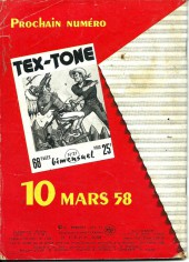 Verso de Tex-Tone -20- Les pilleurs de banque