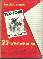 Verso de Tex-Tone -37- Brasiers vers l'ouest