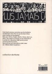 Verso de Contrecoups - Contrecoups - Malik Oussekine