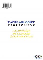 Verso de Sword Art Online - Progressive -4- Tome 4