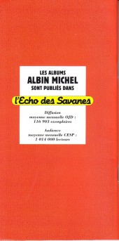 Verso de (Catalogues) Éditeurs, agences, festivals, fabricants de para-BD... - Albin Michel - 1994 -Catalogue