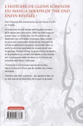 Verso de Seraph of the End -Roman2- Glenn Ichinose - la catastrophe de ses 16 ans - Tome 2