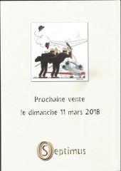 Verso de (Catalogues) Ventes aux enchères - Divers - Septimus - vente du 8 octobre 2017 - hôtel nivelles-sud