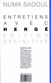 Verso de (AUT) Hergé -1b- Entretiens avec Hergé (édition définitive)