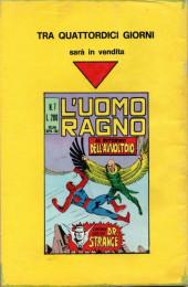 Verso de L'uomo Ragno V1 (Editoriale Corno - 1970)  -6- Il Mistero di Lizard