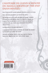 Verso de Seraph of the End -Roman6- Glenn Ichinose - La catastrophe de ses 16 ans - Tome 6