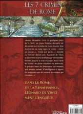 Verso de Une enquête de Léonard de Vinci -1- Les 7 crimes de Rome