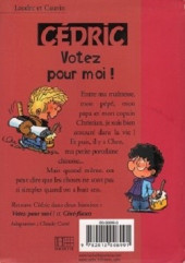 Verso de Cédric (Bibliothèque rose) -101430- Votez pour moi !
