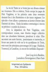 Verso de (AUT) Hergé - Tintin au quotidien