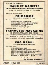 Verso de Frimousse et Frimousse-Capucine -Rec16- Album N°16 (du n°83 au n°88)