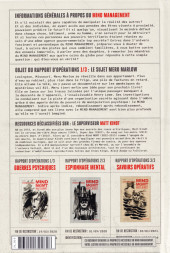 Verso de Mind MGMT -1- Guerres psychiques et leurs influences invisibles - Rapport d'opérations 1/3