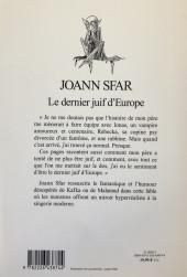 Verso de (AUT) Sfar -Roman- le dernier juif d'Europe