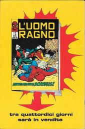Verso de L'uomo Ragno V1 (Editoriale Corno - 1970)  -118- La Trappola dello Spaventoso Quartetto