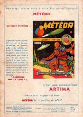 Verso de Météor (1re Série - Artima) -3- La planete du silence...