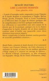 Verso de (AUT) Peeters, Benoît - Lire la bande dessinée