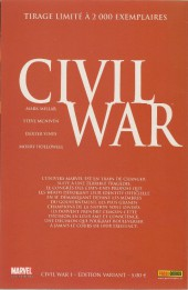 Verso de Civil War - Tome 1VC
